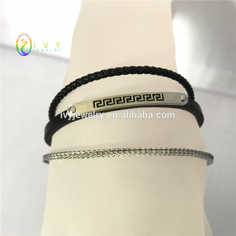 Islp new menus black genuine leather bangle with great wall