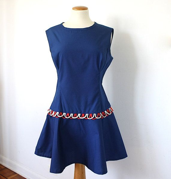 71f87d85a663 Summer Dress Vintage Sun Dress Dropped Waist Mod Women's Clothing Red White  Blue Ken Robes by Kenrose 1960s Retro Fashion