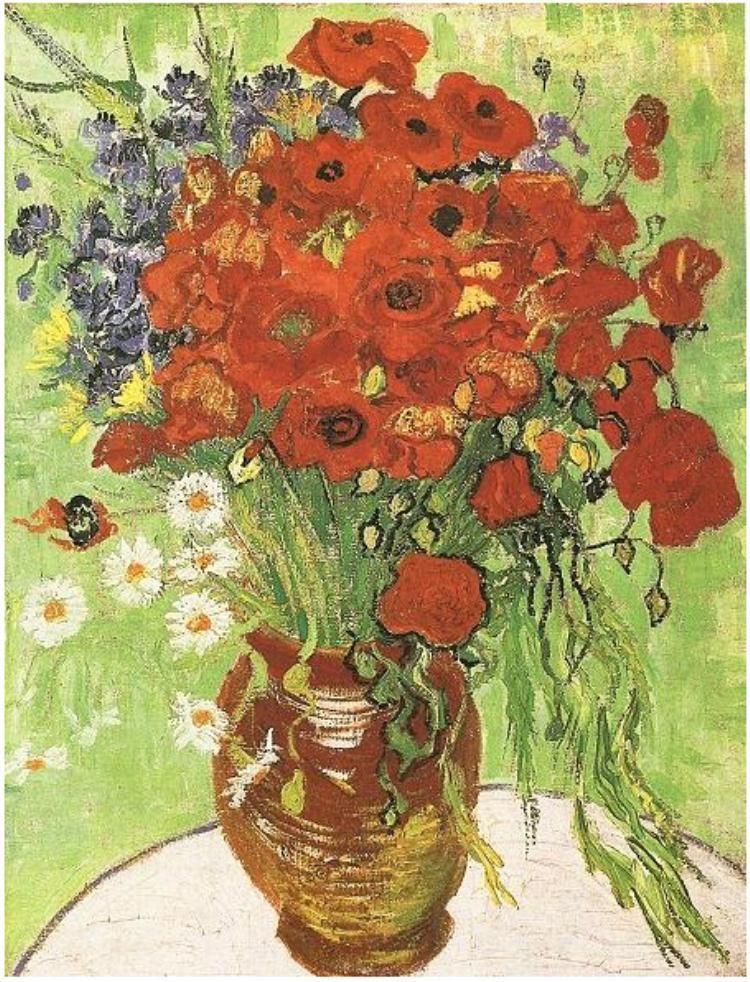 Vincent Van Gogh Red Poppies and Daisies 1890 Vintage Print