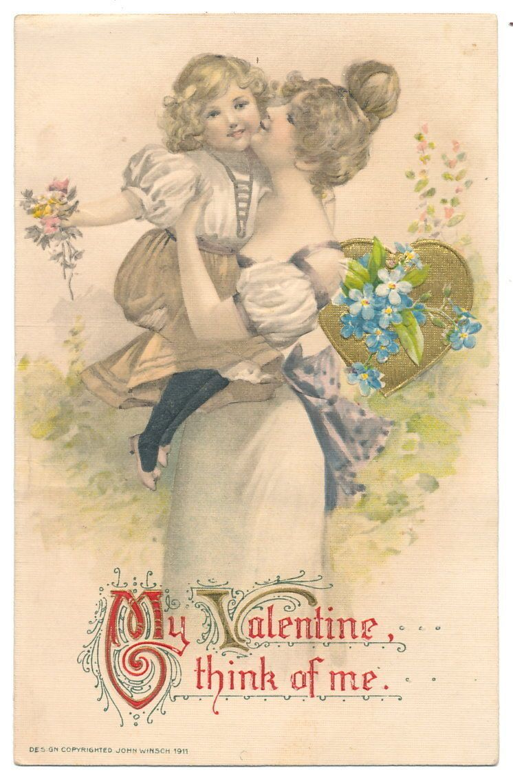 Winsch - Mom Kisses her Valentine -her Daughter | eBay