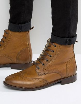 Buy Men Shoes / Asos Boots Brogue Leather With Faux Shearling Lining
