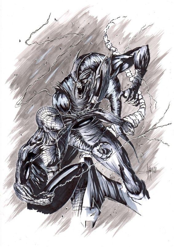 #Spiderman vs #GreenGoblin Anthony Darr Comic Art