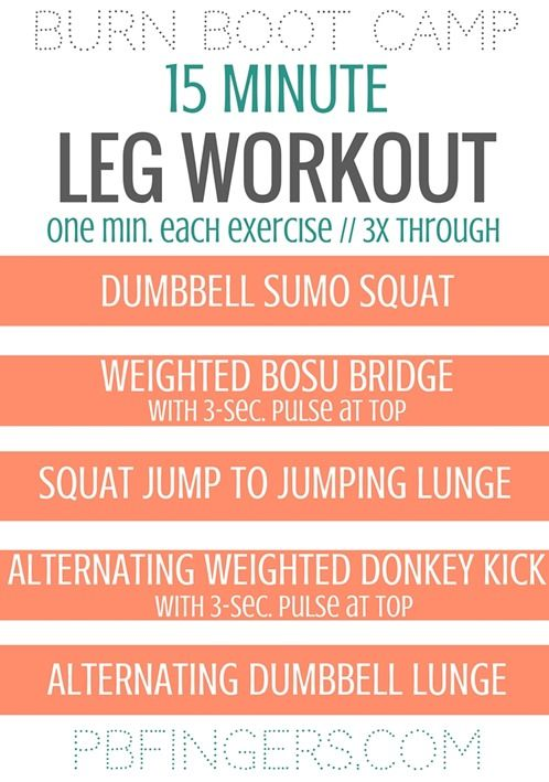 15 minute leg workout from burn boot camp workouts workouta 15 minute leg workout that will challenge you and engage your glutes, hamstrings and quads complete the circuit three times to feel the burn!