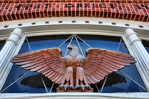 Lyons GA WPA Post Office Eagle Sculpture Doorway 1930s Americana Pictures Photo Copyright Brian Brown Vanishing South Georgia USA 2011