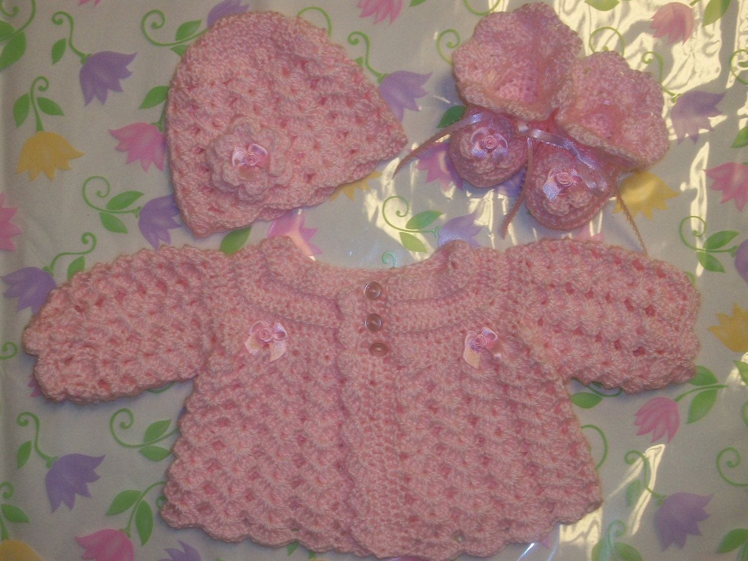 df910442201c Crochet Baby Girl Sweater Set Layette Perfect For Take Me Home Baby ...