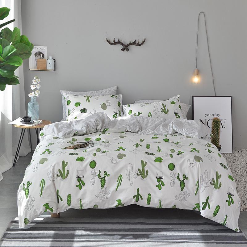 Bedding Double Sided Quilt Cover Set 100 Cotton Cactus Pattern B 53 Bedding Set King Size Bedding Sets Duvet Bedding