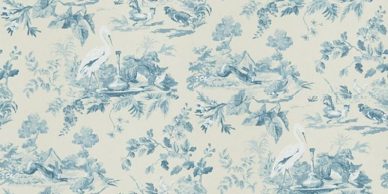 Aesops Fables Blue (DCAVAE103) - Sanderson Wallpapers - A beautifully detailed wallpaper featuring well-loved scenes from Aesop's fables, such as The Tortoise and The Hare. Shown in the blue. Available in other colours. Please request sample for true colour match.