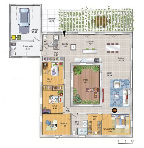 Découvrez les plans de cette une grande maison de plain-pied sur www