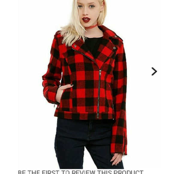 Plaid jacket NEW Sold Cheaper on m. Ercari  New Never worn Still has tags.purchased for $89 Large Red Black Zips up Aeropostale Jackets & Coats