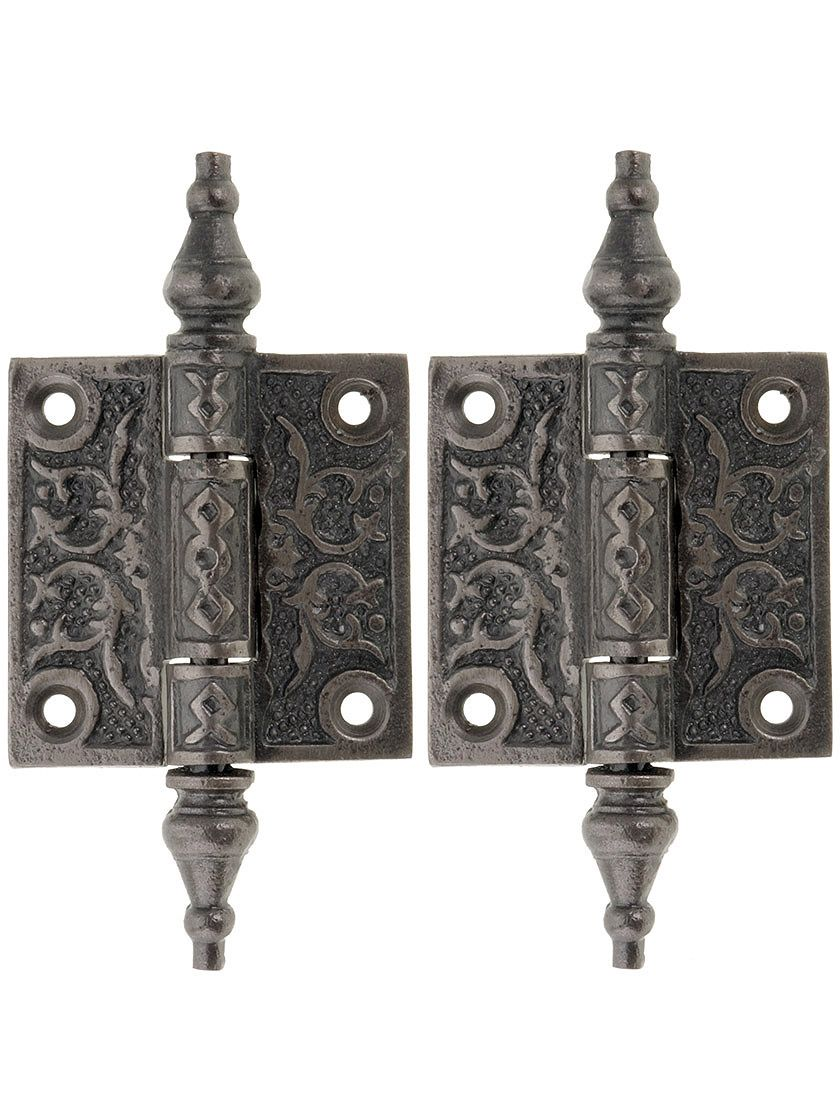 """2 cabinet Door Hinges 2 1//2 X 2 1//2/"""" steeple pins old vintage iron NOS feathers"""