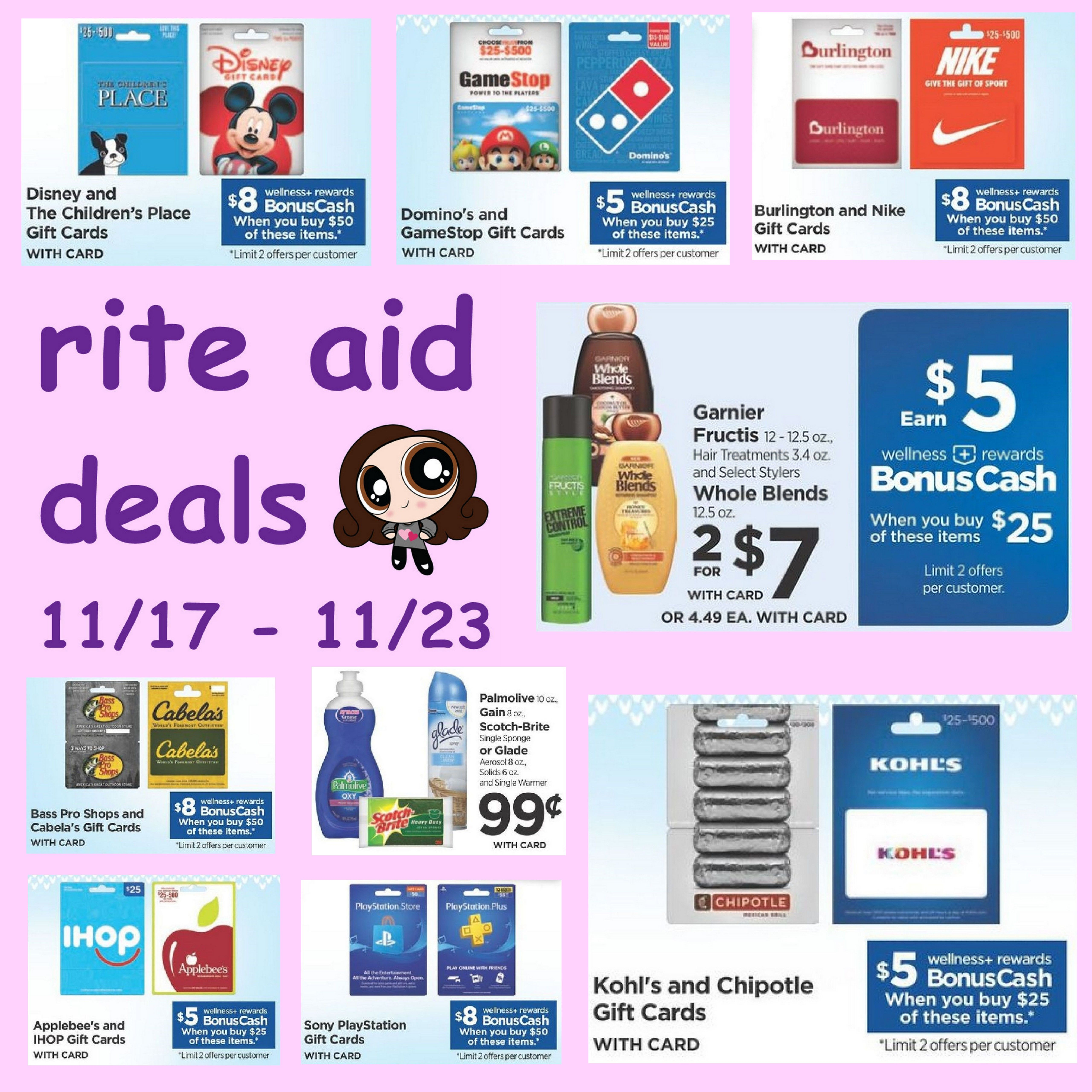 Rite Aid 11 17 11 23 Deals On Many Gift Cards Garnier Hair Care Glade More Gift Card Rite Aid Cards