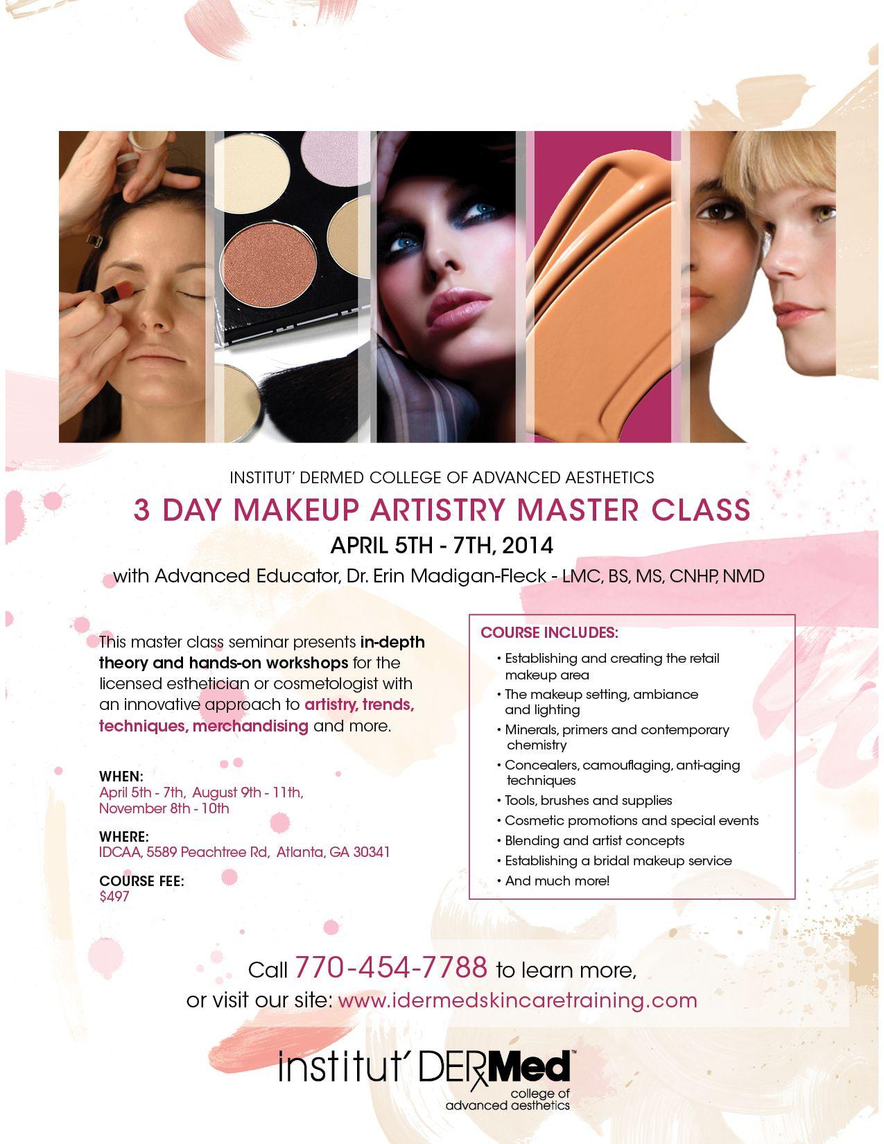 3 Day Makeup Artistry Master Class Day Makeup Advanced Aesthetics Esthetician