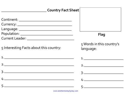 Intro to Geography and Culture FREE Country Fact Sheet - free fact sheet