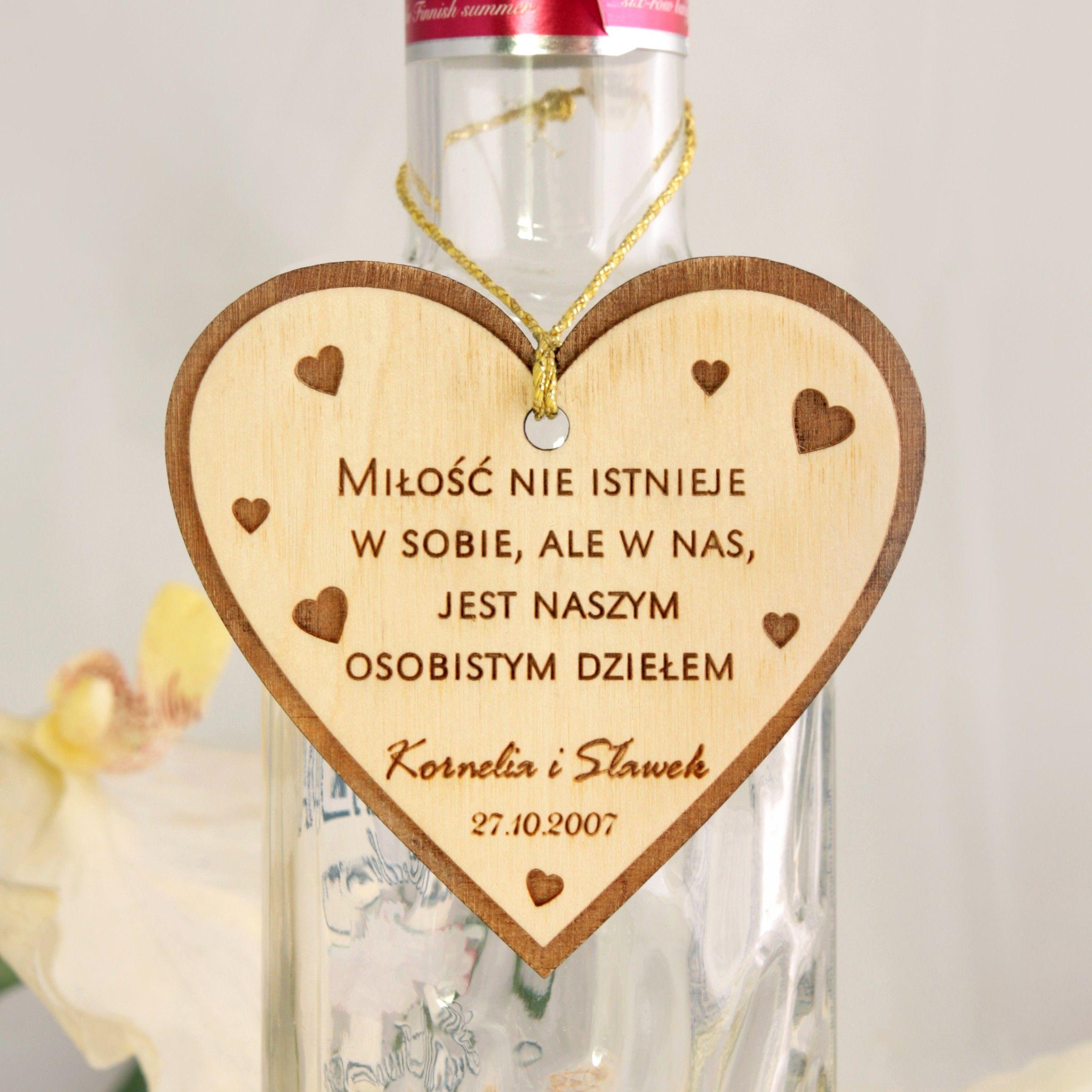 Drewniana Zawieszka Na Alkohol Wycinana Laserowo W Ksztalcie Serca