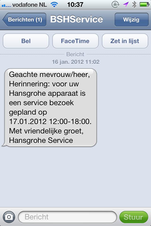 Nice service reminder via SMS