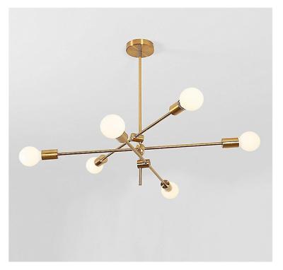 Gold Modern Chandelier 6 Lights Pendant Lamp Metal Ceiling Light Fixtures Ebay Metal Ceiling Lighting Modern Chandelier Modern Pendant Lamps