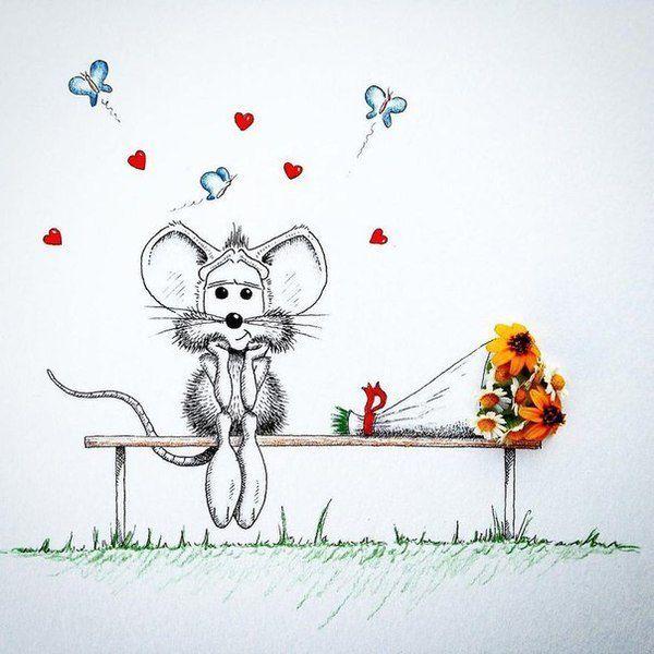 Открытки для, рисунки смешного мышонка
