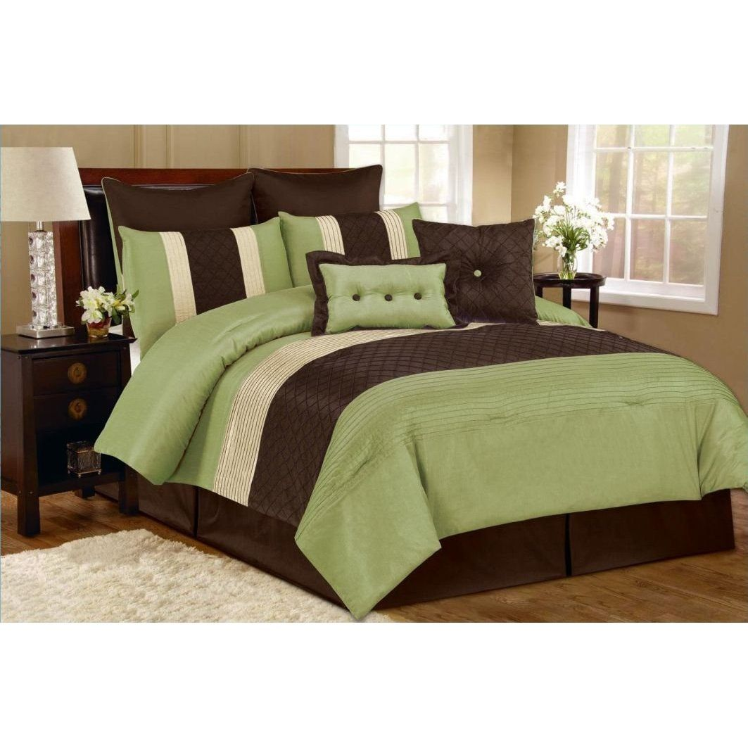 Outrageous Green And Brown Bedroom: Brown & Sage Comforter Set