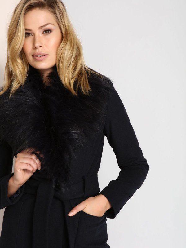 Plaszcz Damski Z Futrem Z Welna Dlugosc Regularna Bordowy Granatowy Spz0351 Top Secret Coat High Neck Dress Fashion