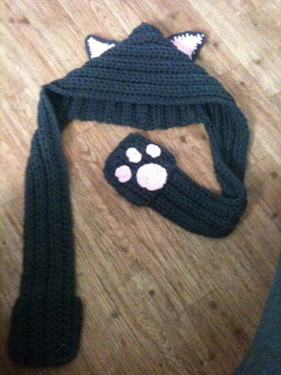 Kitty Crochet Scoodie- hooded scarf-with pockets children\'s fits ...