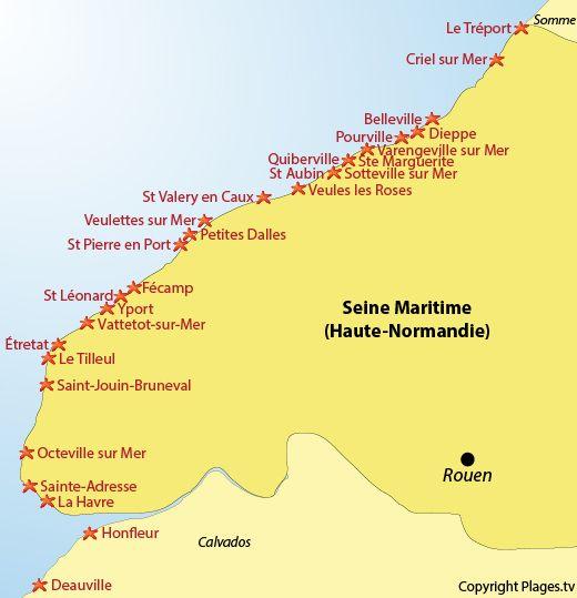 plage de normandie carte Carte des plages et des stations balnéaires de la Seine Maritime