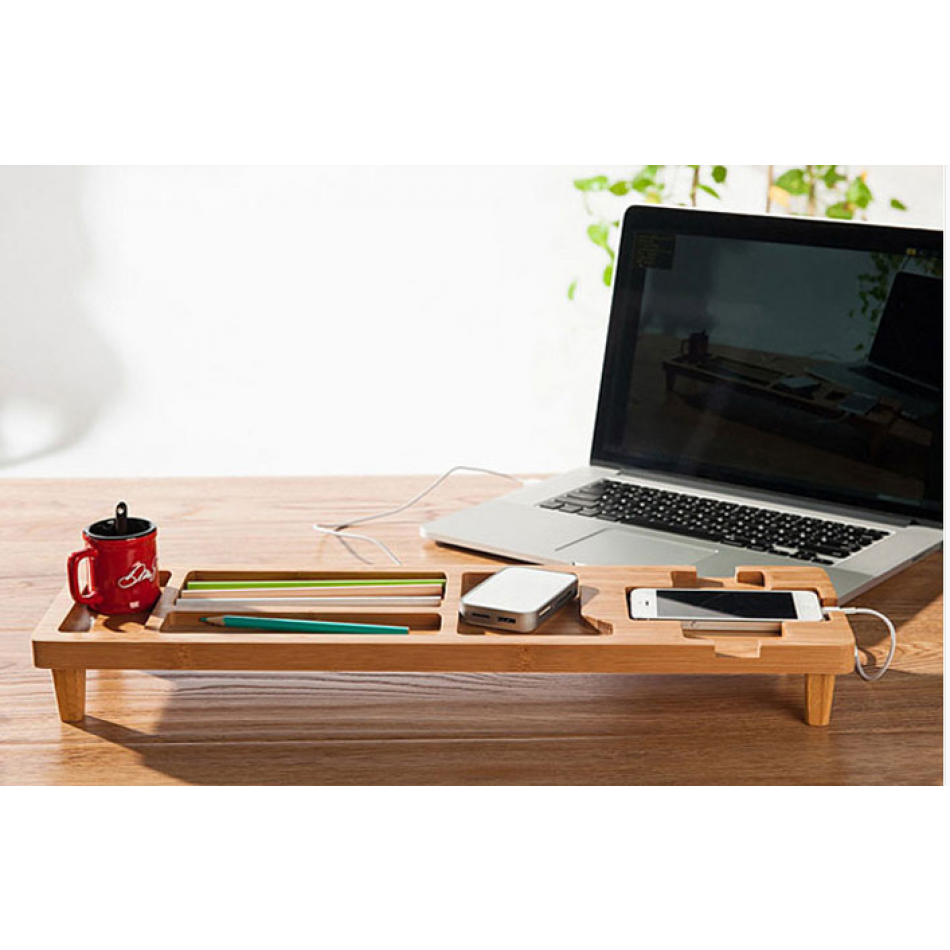 This Is The Perfect Desktop Accessory For Your Tech Organization Problems And It Made Up Of All Bamboo Wood