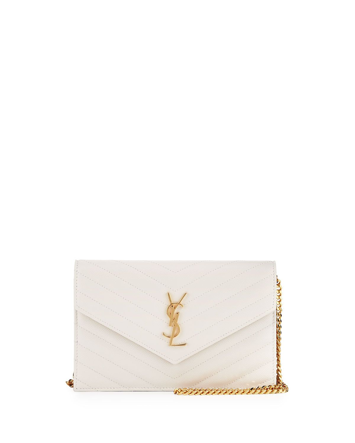 b78a5fe1 Monogram Small Matelassé Envelope Chain Wallet White in 2019 ...