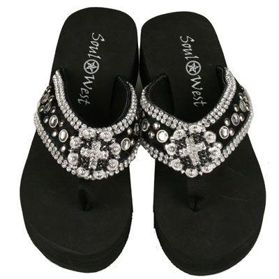 Ladies Fashion Flip Flops With Rhinestone Trim Silver 8