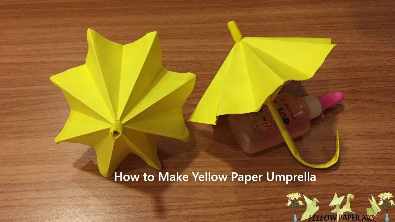 Yellow paper art how to make paper umbrella origami folds