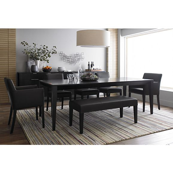 Lowe Smoke Leather Bench In Dining Benches
