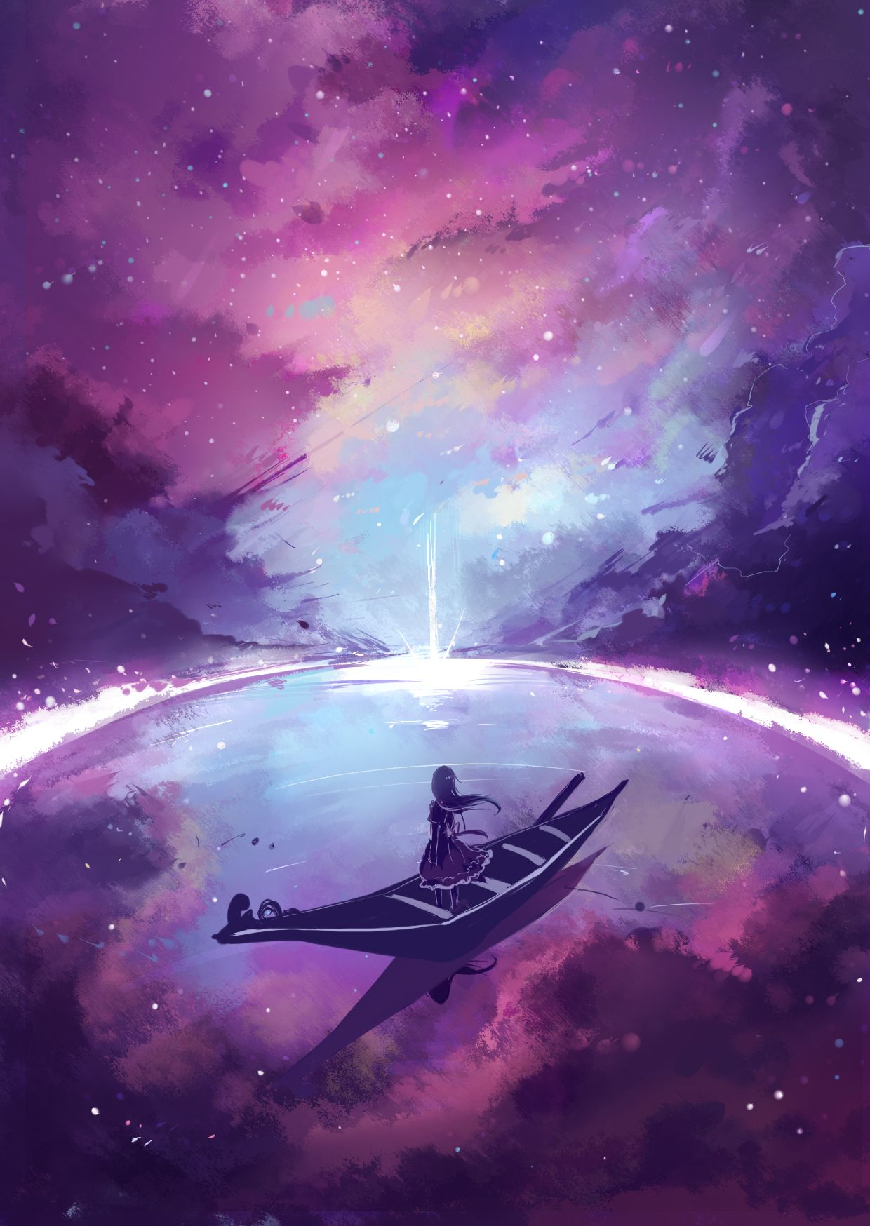 Anime...scenery...girl...boat...GalaxySpace...cool