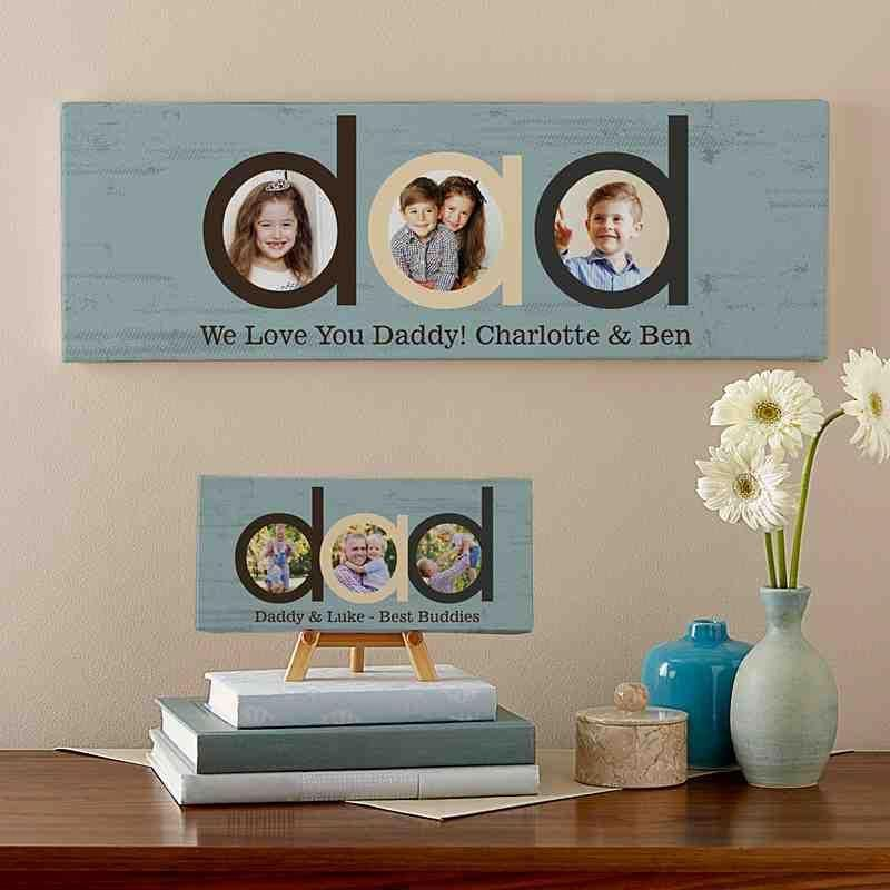 Dad photo message canvas christmas gift for dad