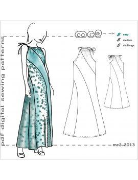 Digitales PDF-Schnittmuster für ein weit geschnittenes Maxi-Sommerkleid mit Wirbelstreifen. ICH…   – mc2-patterns Dresses/ Tops