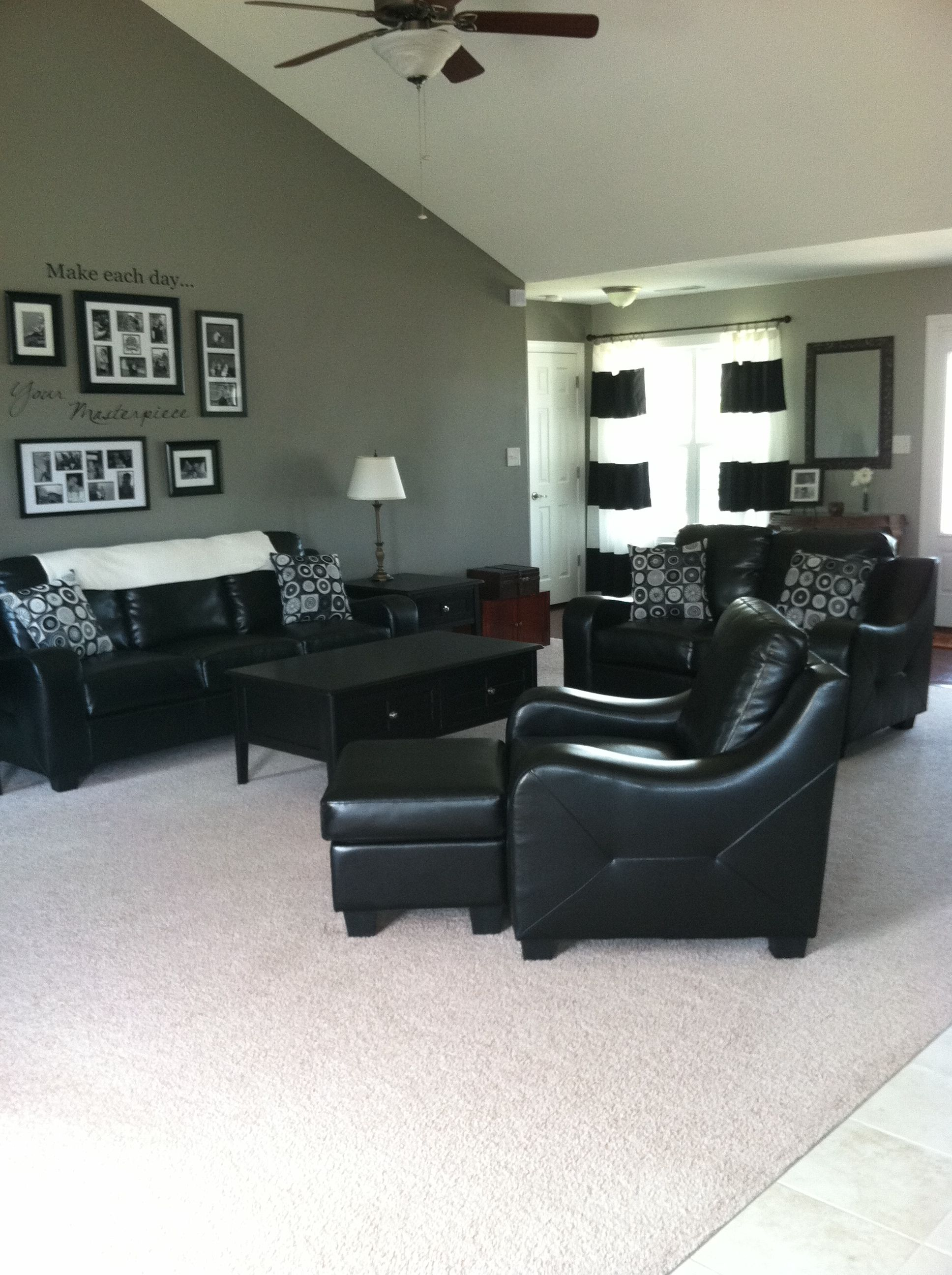 My New LivingroomBehr Paint Color Elephant Skin Love The Black And White Contrast