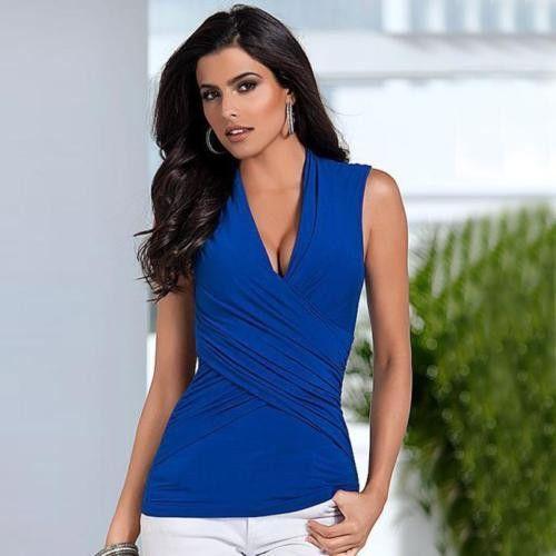 Summer Women's Sexy V-Neck Sleeveless Top Casual Tank Tops T-Shirt - Blue - Large