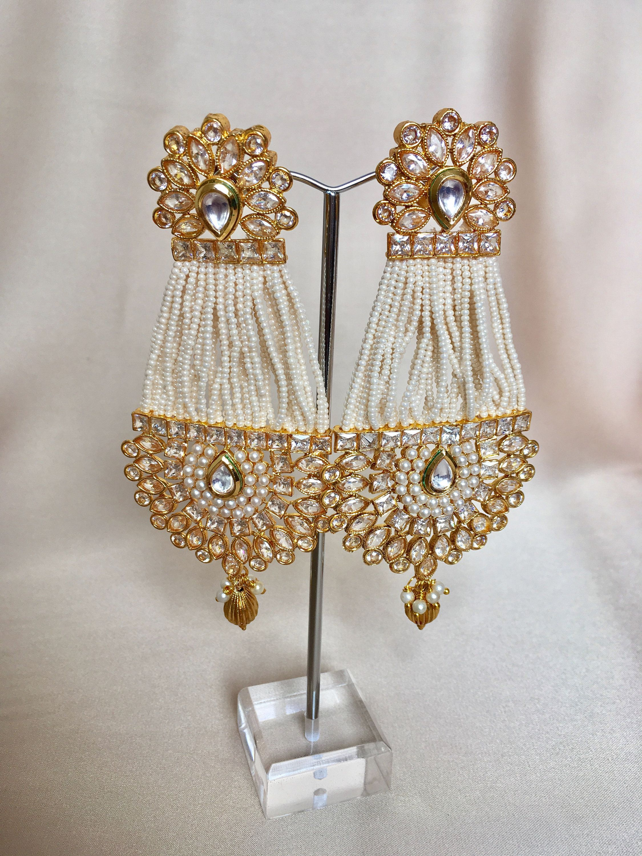 Where To Get Bridal Jewelry Indian Earrings Earring Jhalar Pot Indian Jewelry Kundan Jewelry