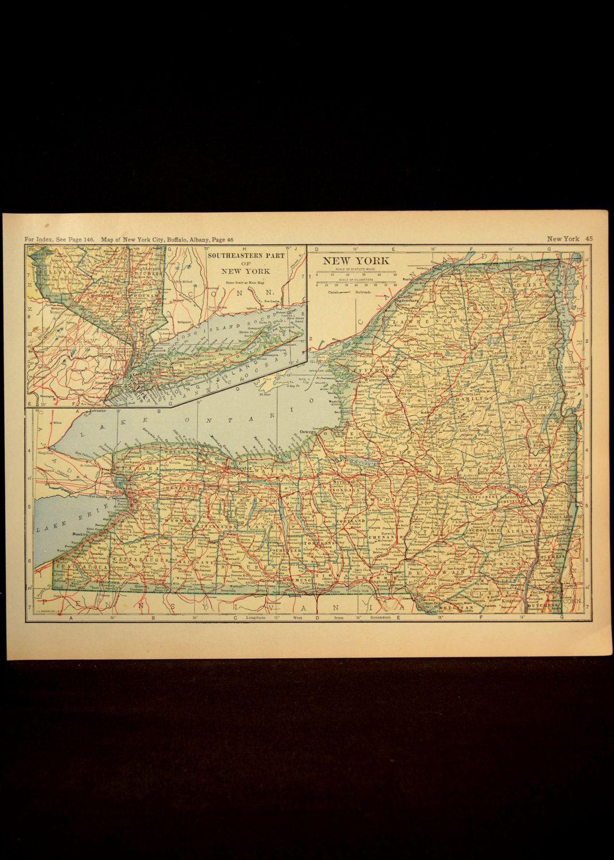 New York Map New York Original Railroad Antique 1920s Yellow | Map ...