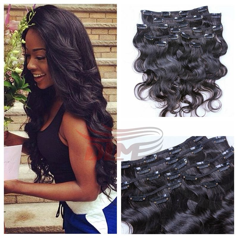 Unprocessed Brazilian Virgin Hair Weaves Extensions With Clips 10