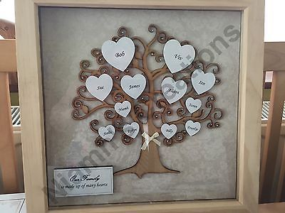 family tree in deep box frame personalised handmade 12 x 12 frame