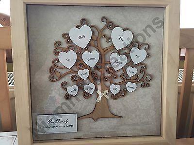 Family Tree in Deep Box Frame - Personalised / Handmade 12\