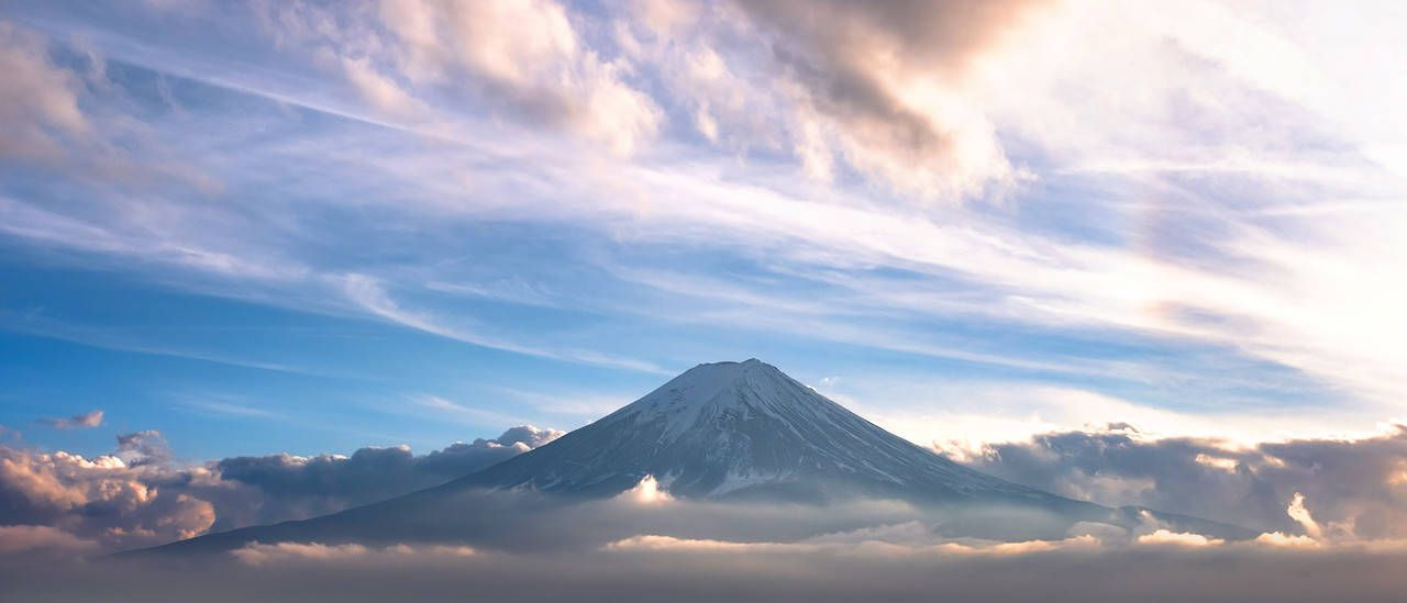 Mountain Fuji In Sea Of Mist Or Fog At Sunrise With Cloudy
