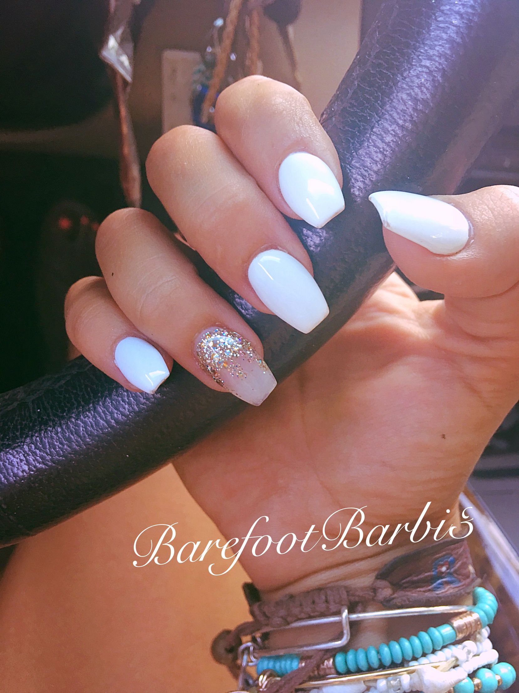 Coffin Nail Cute White And Nude With Gold Accent Sparkle Nude