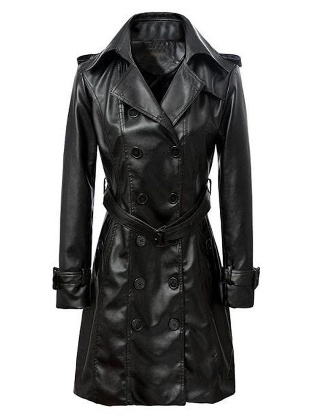 VearFit Smarterious Long coat Black PU leather jacket for
