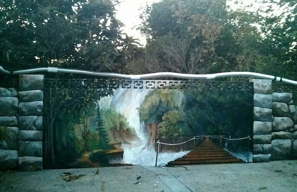 Full Outdoor Cinder Block Stucco Wall With Hand Painted Trompe L Oeil Mural Garden Mural Jungle Mural Fence Art