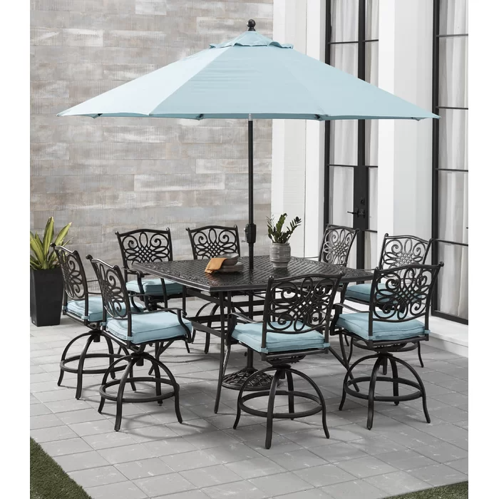 Carleton 5 Piece High Dining Set With Cushions Blue Outdoor Furniture Dining Set Glass Top Table