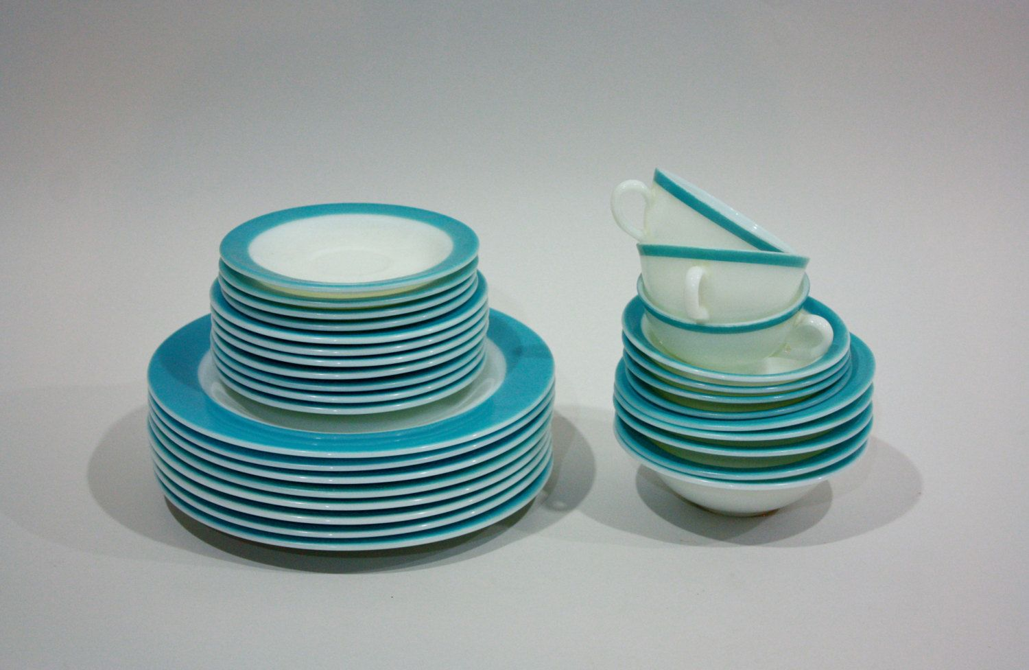 vintage 50s pyrex dinnerware set Aqua 31 pieces by BombshellsandBabes $215.00 & vintage 50s pyrex dinnerware set Aqua 31 pieces by ...