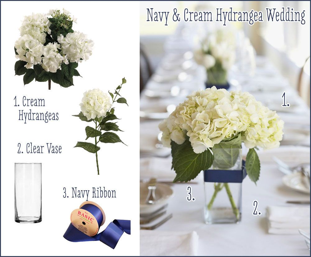 We loved this navy and cream wedding centerpiece from Real Simple ...