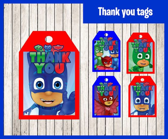 Pj Masks Thank You Cards Instant Download Printable Party Tags