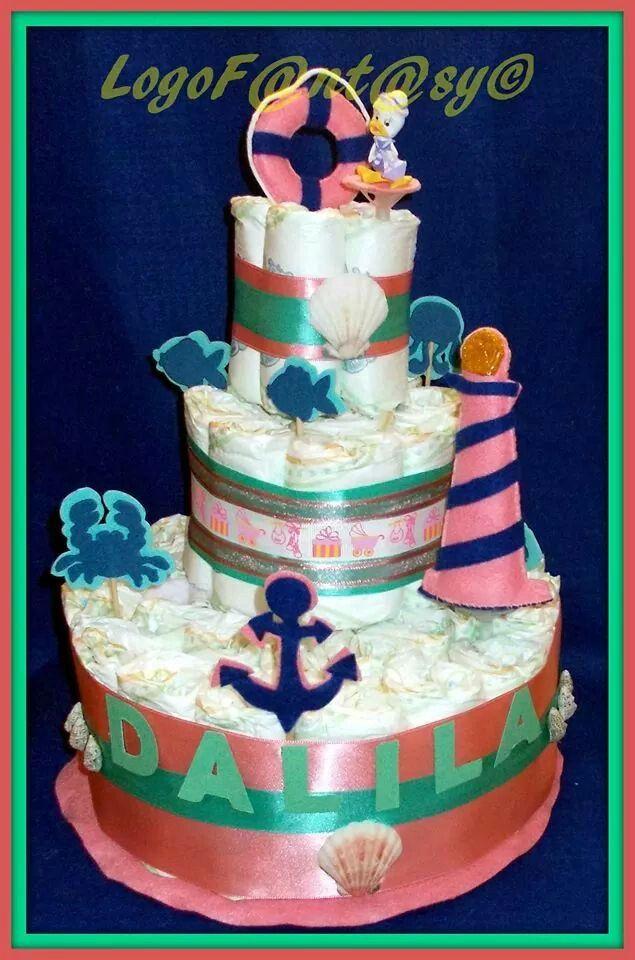 Nautical diaper cake - torta di pannolini tema marinaresco