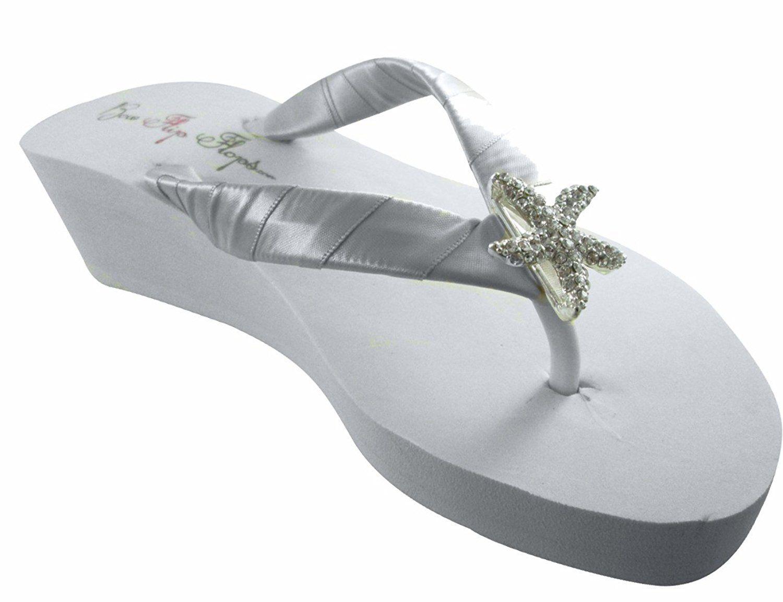 Wedge Flip Flops Rhinestone Starfish Wedding Sandals Champagne Ivory Or Silver White 6